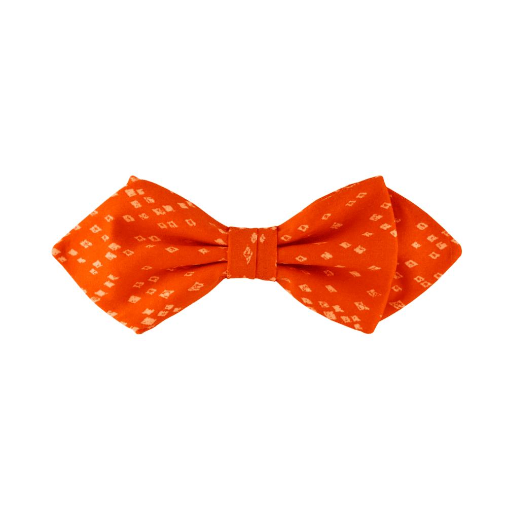 noeud papillon orange Liberty, choix de nouage et de forme, ici POINTUE