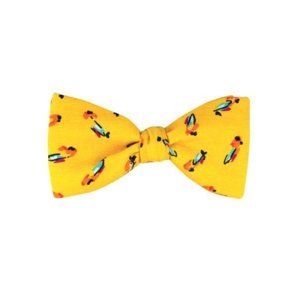noeud papillon jaune à motif oiseaux, modèle à nouer