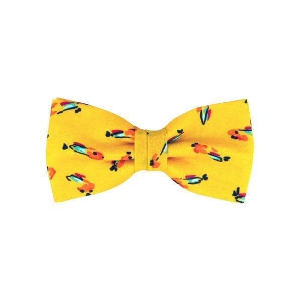 noeud papillon jaune à motif oiseaux, de forme classique