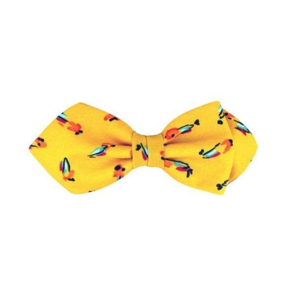 noeud papillon jaune à motif oiseaux, de forme pointue