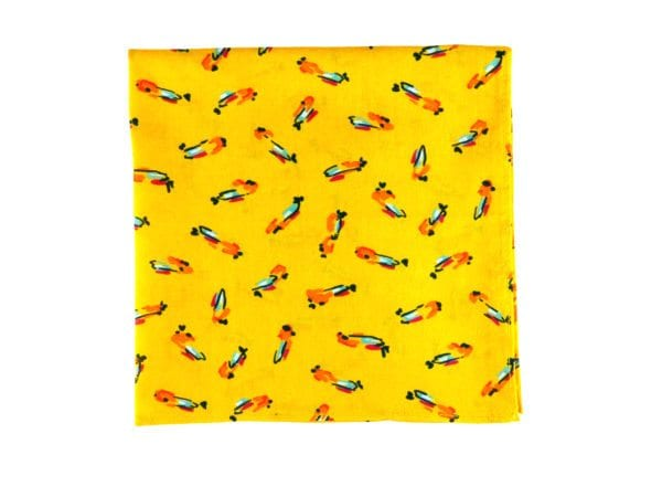 pochette de veste jaune à motif oiseaux perroquets