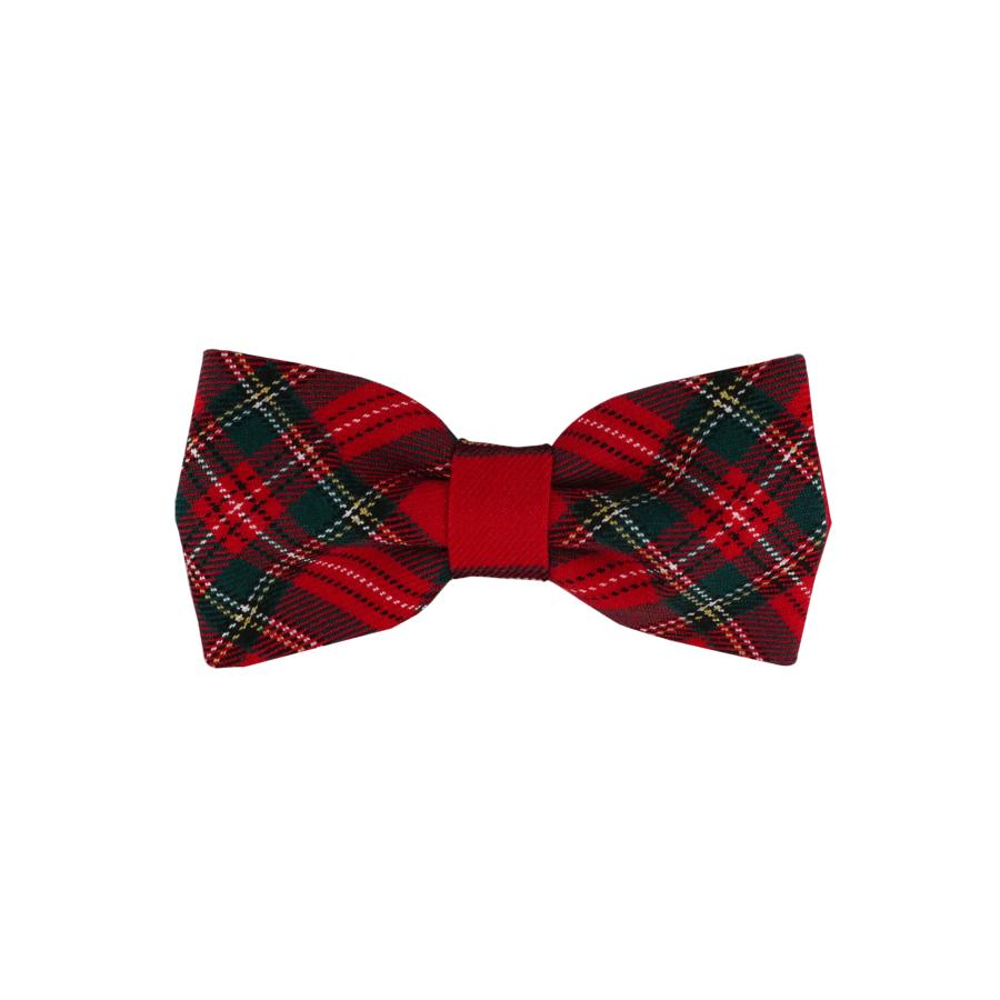 noeud papillon rouge écossais pour l'hiver