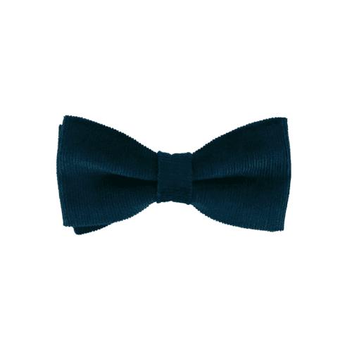 noeud papillon velours milleraies de couleur bleu canard