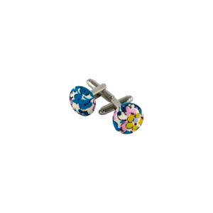 boutons de manchette à fleurs turquoise