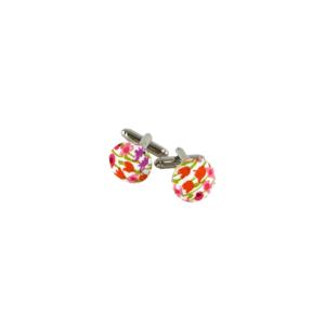 boutons de manchette rose corail fleurs