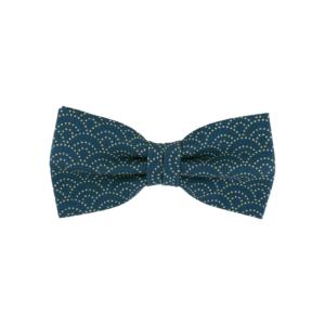 noeud papillon japonais turquoise à motif vagues, choix de nouage et de forme, ici CLASSIQUE