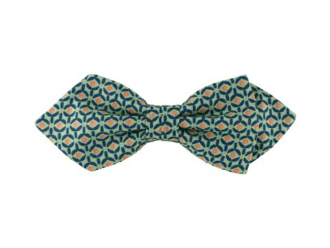 noeud papillon vert d'eau à motif géométrique, choix de nouage et de forme, ici POINTU