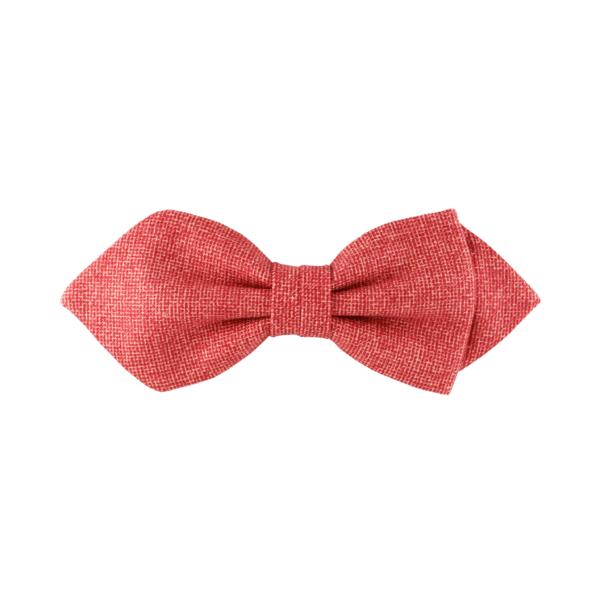 noeud papillon rouge texturé coloris rouge brique, choix de nouage et de forme, ici POINTUE