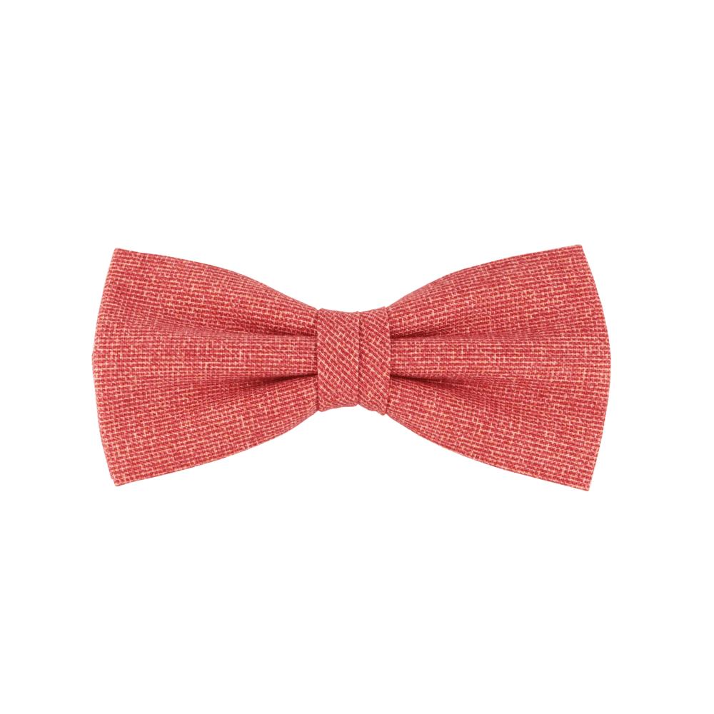 noeud papillon rouge texturé coloris rouge brique, choix de nouage et de forme, ici CLASSIQUE