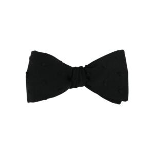 Noeud papillon noir pour homme à nouer de forme droite, modèle Nomie, coloris noir à plumetis