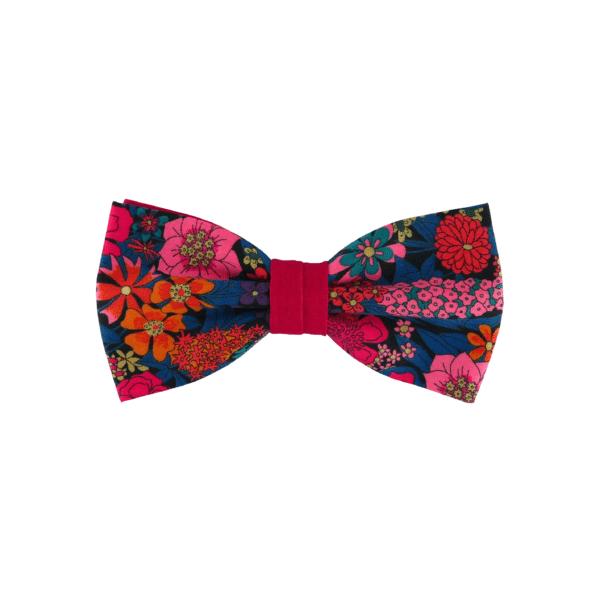 Noeud papillon fuchsia pour homme de forme droite, modèle Sebast, coloris bleu canard à fleurs fucshia, turquoise foncé, rose, orange, noir