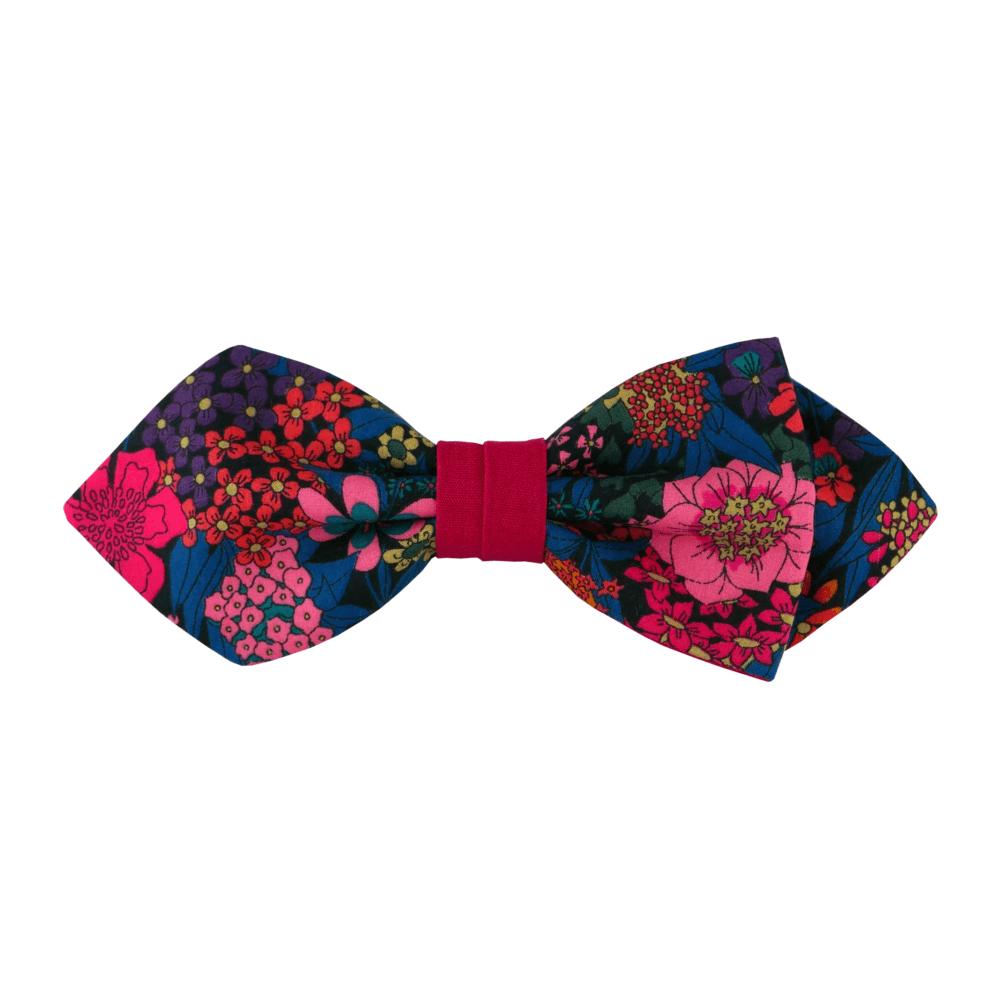Noeud papillon fuchsia pour homme de forme pointue, modèle Sebast, coloris bleu canard à fleurs fucshia, turquoise foncé, rose, orange, noir