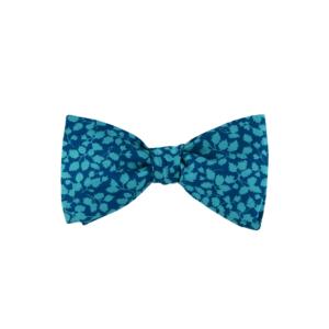 noeud papillon turquoise foncé Liberty, choix de nouage et de forme, ici A NOUER