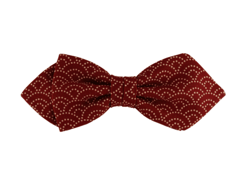 noeud papillon rouge bordeaux à motif japonais vague, choix de nouage et de forme, ici POINTUE
