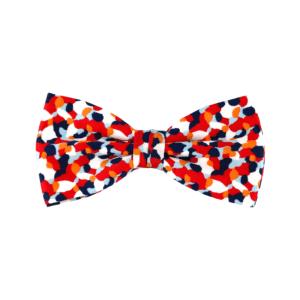 noeud papillon bleu blanc rouge à motif confettis Liberty, choix de nouage et de forme, ici CLASSIQUE
