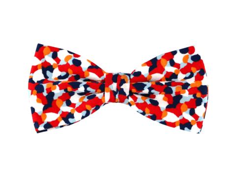 c7d3784d96c90 noeud papillon bleu blanc rouge à motif confettis Liberty, choix de nouage  et de forme
