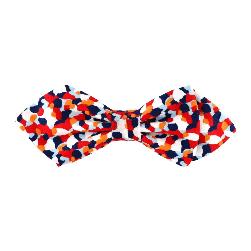 noeud papillon bleu blanc rouge à motif confettis Liberty, choix de nouage et de forme, ici POINTUE