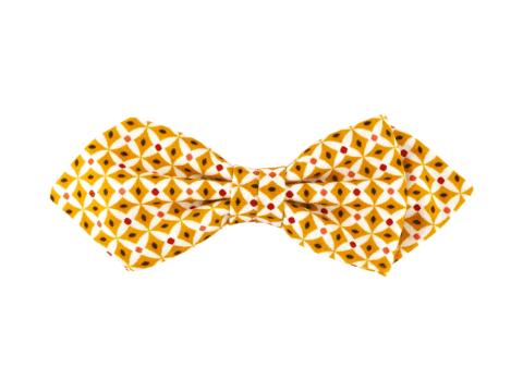 noeud papillon jaune à motif géométrique, choix de nouage et de forme, ici POINTUE