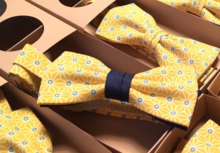 noeud papillon mariage jaune et bleu marine